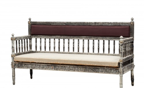 Gustavian Sofa in scraped grey patina on gilt. , circa 1800