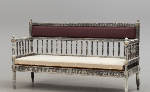 Seating  - Gustavian Sofa in scraped grey patina on gilt. , circa 1800