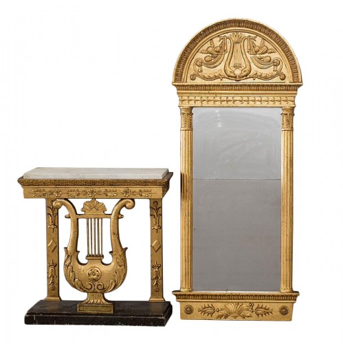 Lyra Consoltable and Mirror Gustavian, Stockholm circa 1815