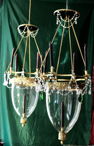 A pair of Russian Neo-classic style Lanterns with green crystal