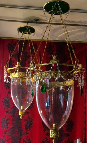 Lighting  - A pair of Russian Neo-classic style Lanterns with green crystal