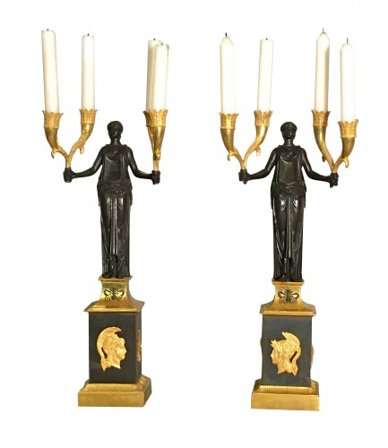 Pair of Directoire Candelabras Bronze ormolu  and patina