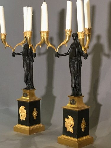 Pair of Directoire Candelabras Bronze ormolu  and patina  - Lighting Style Directoire