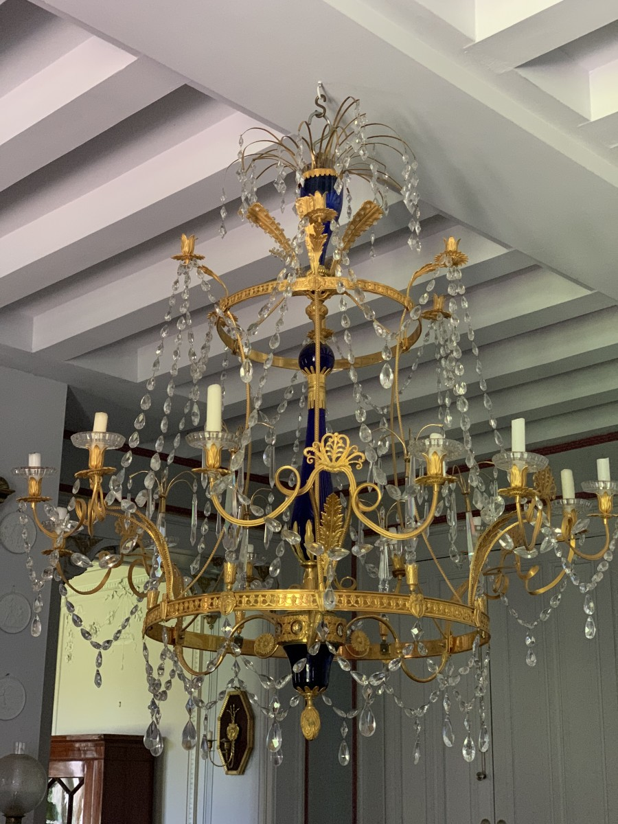 Large 18 Lights Russian Blue Crystal Chandelier