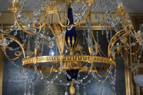 Large 18 lights Russian blue Crystal chandelier  - Lighting Style