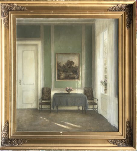 Large Danish Interior -  Wilm Henriksen, 1924  - Paintings & Drawings Style Art Déco