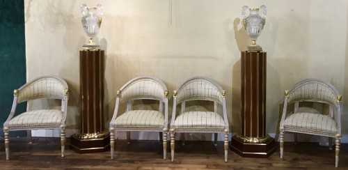 Set of 4 Gustavian style  armchairs .Sweden, end XIX th cent. - Seating Style Directoire