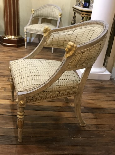 Set of 4 Gustavian style  armchairs .Sweden, end XIX th cent. -