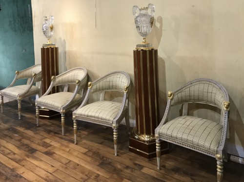 19th century - Set of 4 Gustavian style  armchairs .Sweden, end XIX th cent.