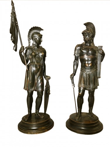 Athena and Arès, Pair of bronze figures Empire period