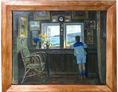 Young boy dreaming at Sea through a Window,1919 - Axel Frederiksen (1881-1961)gn