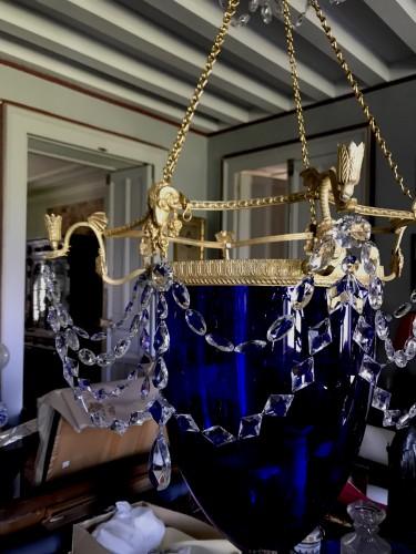 Russian Lanterne cobalt blue gilet bronze - Lighting Style Empire
