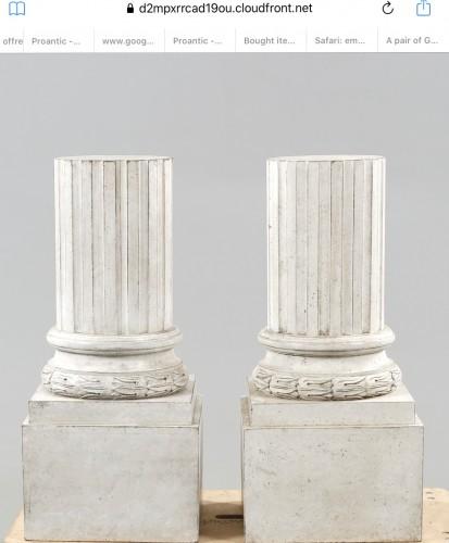 Pair of pedestal-columns. White Gustavian style