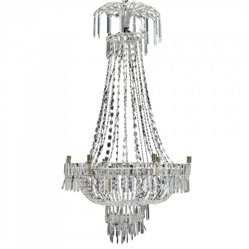 Large Swedish classical Art Deco Chandelier in white Crystal
