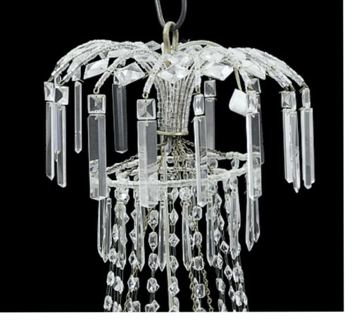 Large Swedish classical Art Deco Chandelier in white Crystal - Lighting Style Art Déco