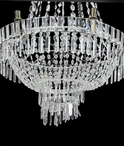 Lighting  - Large Swedish classical Art Deco Chandelier in white Crystal