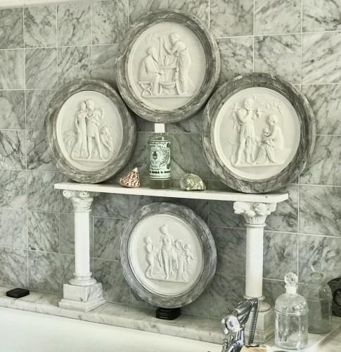 Rare set of «Four Seasons of Life, After Thorvaldsen  - Porcelain & Faience Style Napoléon III
