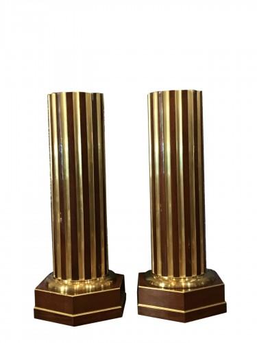 Russian Columns mahogany and brass inlays. A Pair.