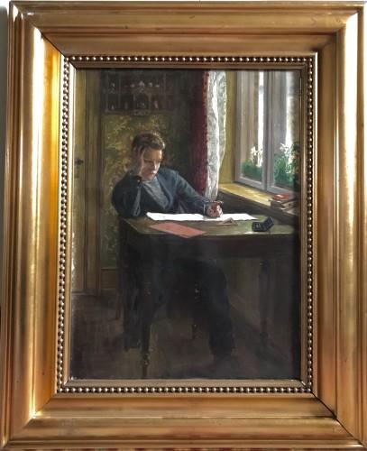 «Goemetry» Schoolboy's boredom  - Axel Helsted, 1893  - Paintings & Drawings Style Art nouveau