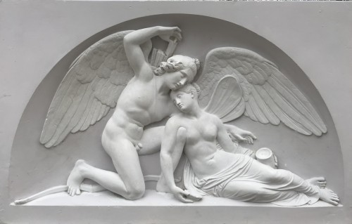 """Cupid and Psyché"" Large plaster relief after Thorvaldsen's marbre"