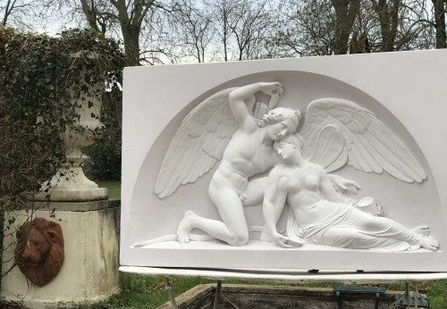 "Decorative Objects  - ""Cupid and Psyché"" Large plaster relief after Thorvaldsen's marbre"