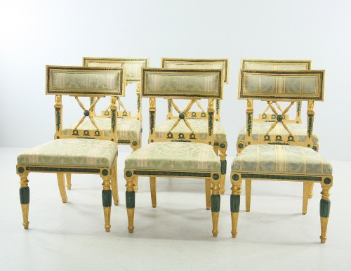 Seating  - Set of 4 Gustavian style Chairs dated 1907