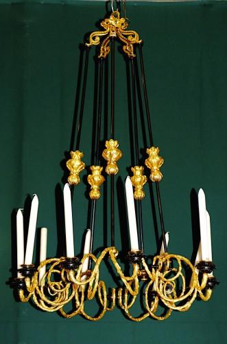 Chandelier Napoleon III, Gilt and patina Bronze 10 lights - Lighting Style Napoléon III