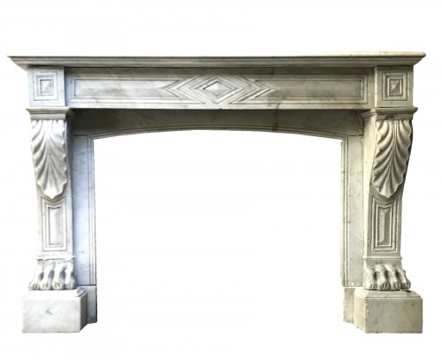 Large white Marble Fireplace of Empire Style