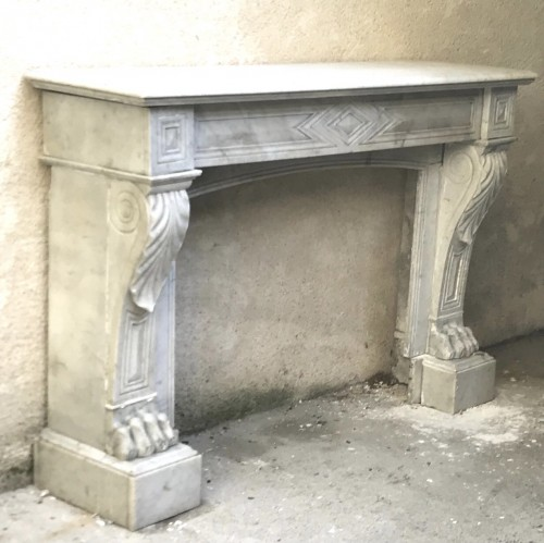 Large white Marble Fireplace Empire  - Architectural & Garden Style Empire