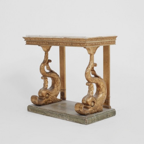 Consoltable and mirror on Delphins, Sweden, circa 1800 - Furniture Style Empire
