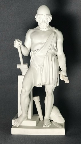 """Vulcan "" Biscuit after the marble statue of B. Thorvaldsen - Porcelain & Faience Style Napoléon III"