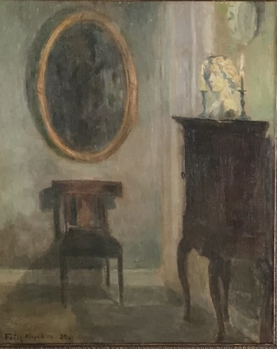 A. Danish Interior-  F. Nybo, 1927 - Paintings & Drawings Style Art Déco