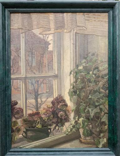 Flowered Window, a Danish Interior, sign. Gerda Strøm, 1923