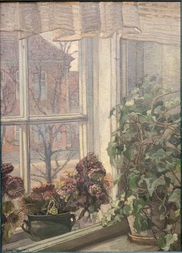 Flowered Window, a Danish Interior, sign. Gerda Strøm, 1923 - Paintings & Drawings Style Art Déco