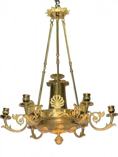Swedish gilt bronze chandelier , Empire style