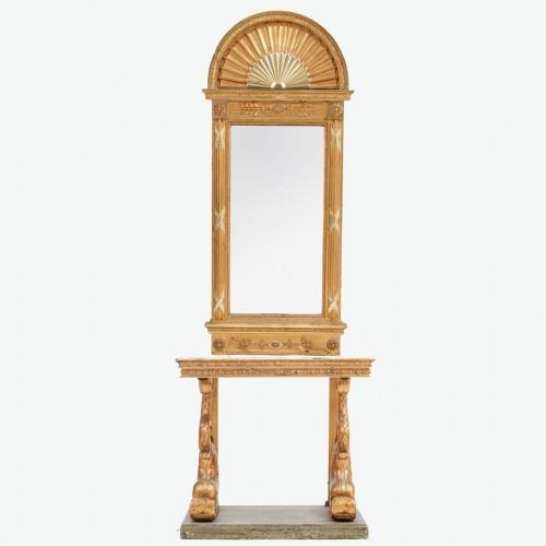 Furniture  - Delphins Consoltable with mirror , Sweden circa 1800