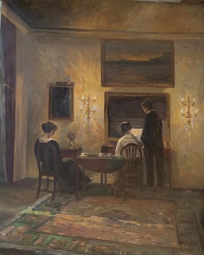 Reeding in a Danish interior  -  Émilie Christensen, 1920