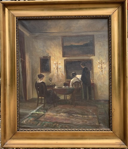 Reeding in a Danish interior  -  Émilie Christensen, 1920  - Paintings & Drawings Style Art Déco