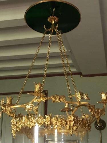 Neo classic Lantern with grapes motives, gilt bronze, cristal  -
