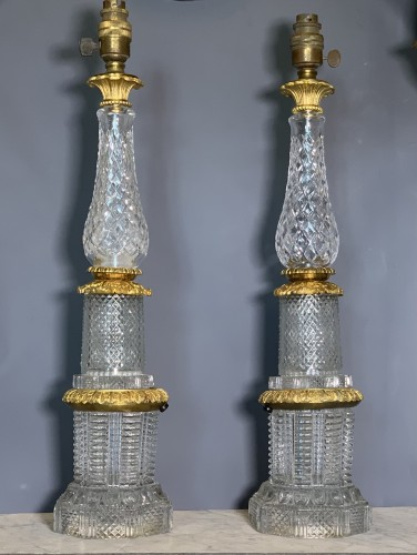 Lighting  - Pair of crystal and gilt bronze lamps