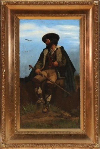 """""""Italian Sheppard on a rock"""" sign W. S. Sparrow, 1882 - Paintings & Drawings Style Napoléon III"""