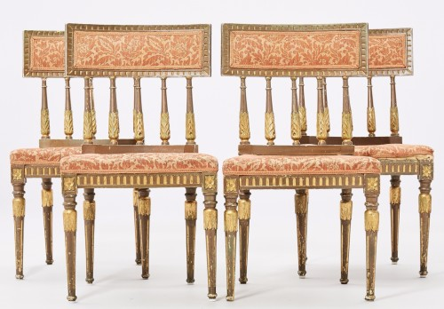 Set of 4 Chairs in Gustaviansk style Bronze and gilt color circa 1900 -