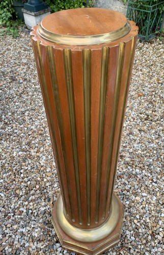 Russian Column Mahogany and brass stries 19th cent.  - Decorative Objects Style Restauration - Charles X