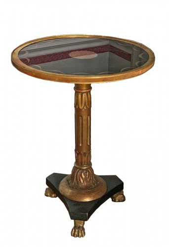 Guéridon Table gilt wood and under-glass painted top , Swedish Empire