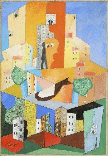 Léopold SURVAGE (1879 - 1968) - Man and bird in the city