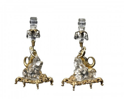 Pair Of Rock Crystal And Vermeil Candlesticks