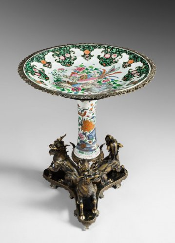 Maisons Marnyhac and Samson. Porcelain and Bronze Pedestal table - Furniture Style Napoléon III