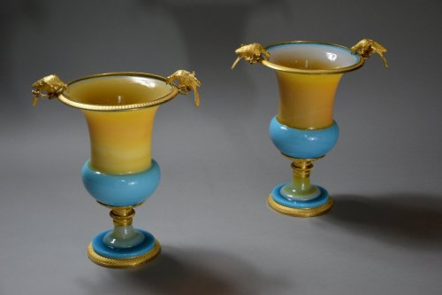 Pair of Vases in Opaline circa 1820 -