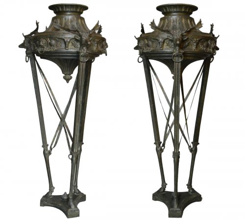 Pair of large bronze Athenienne