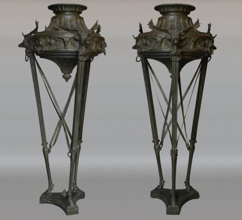 Pair of large bronze Athenienne - Decorative Objects Style